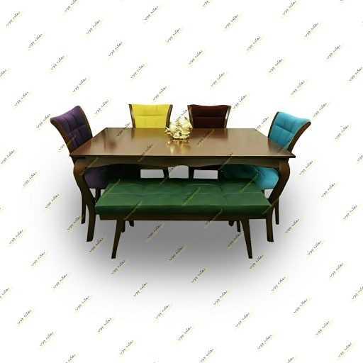 میز ناهار خوری مدل میز ماهان با صندلی سون و نیمکت