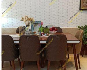 میز نهار خوری کارن با صندلی لاکچری