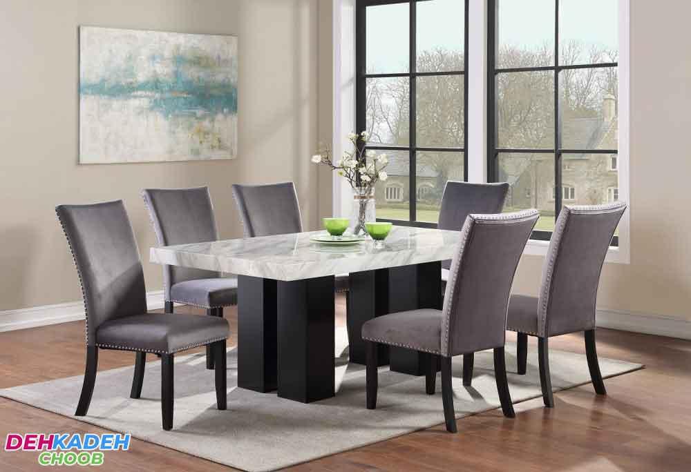 Wooden dining table with gray cover - نکات و راهنمای خرید میز ناهار خوری