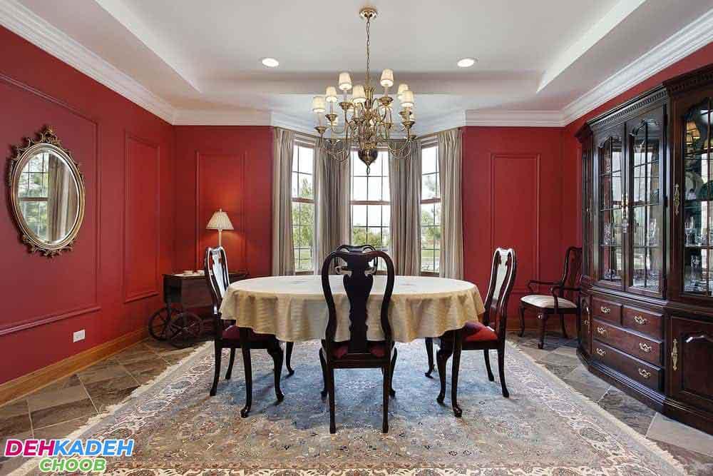 Crimson dining room - بهترین رنگ برای دکوراسیون اتاق ناهارخوری