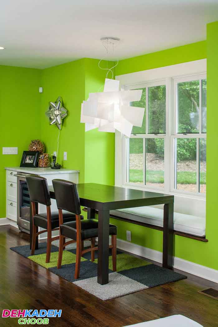Green dining room 2 - بهترین رنگ برای دکوراسیون اتاق ناهارخوری