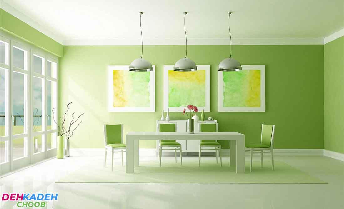 Green dining room - بهترین رنگ برای دکوراسیون اتاق ناهارخوری