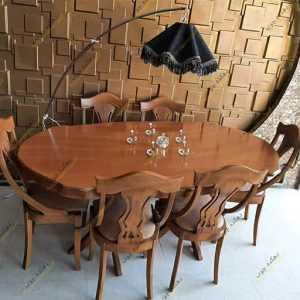میز ناهار خوری مدل ایتالیایی با صندلی عصایی