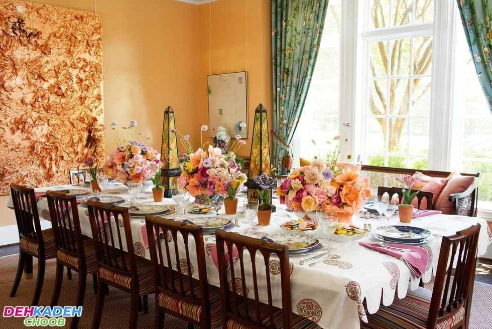 Large dining table with beautiful decoration - تزیین میز ناهار خوری