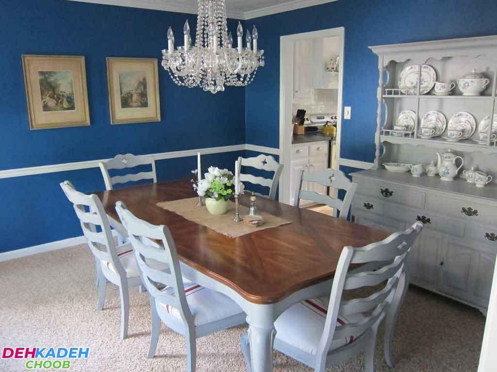 Light blue dining room - بهترین رنگ برای دکوراسیون اتاق ناهارخوری