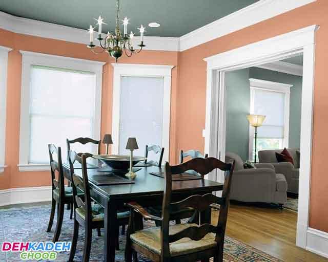 Peach colored dining room - بهترین رنگ برای دکوراسیون اتاق ناهارخوری